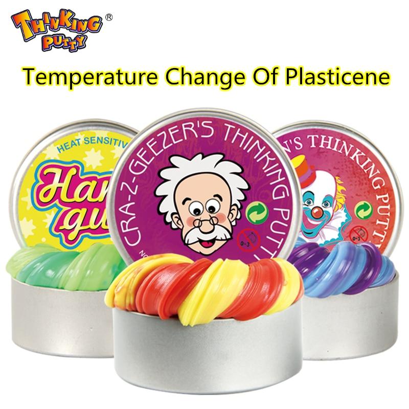 Intelligente Creatieve handgom Temperatuurverandering verandert kleur Slime Silly Putty licht Clay Fimo Plasticine Mud Doh speelgoed Kids Gift