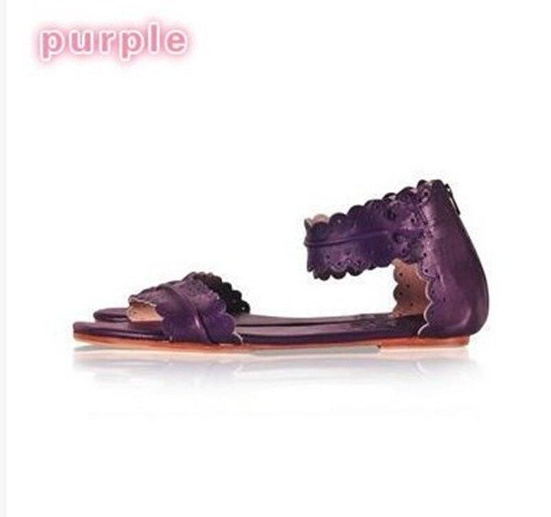 cc11d0067276e0 D'été Femmes Gladiateur Grande Dentelle Filles 35 Courroie 43 Taille  Feuille De Plat pink purple Chaussures blue Black Cheville Sandales Zip ...