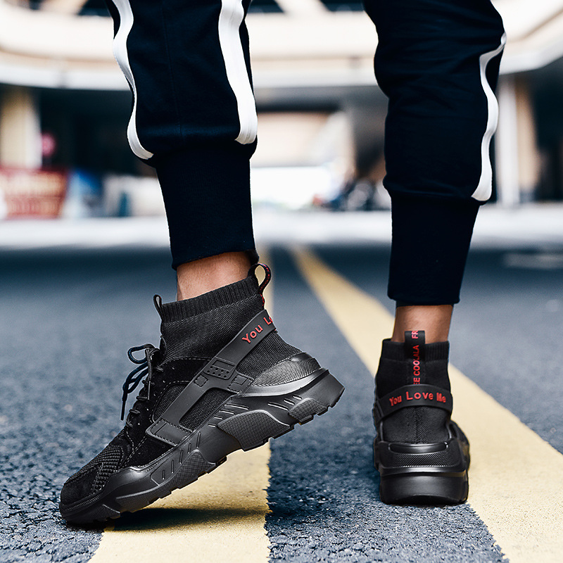 New High Top Platform Sneakers Men Fly Weave Stretch Sock Shoes Hip Hop Street Men Chunky Black Red Trainers Sneakers Thick Sole in Men 39 s Casual Shoes from Shoes