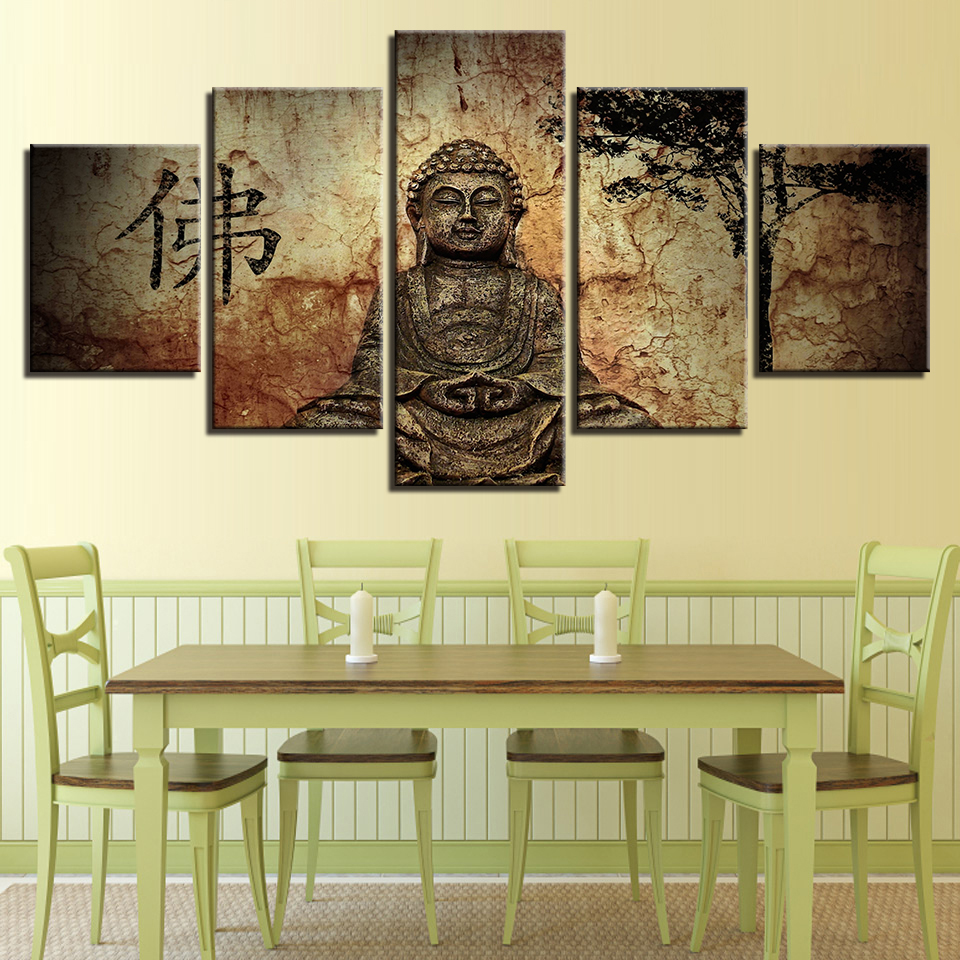 Modular Cheap Pictures 5 Panel Buddha Modern Frames For Painting ...