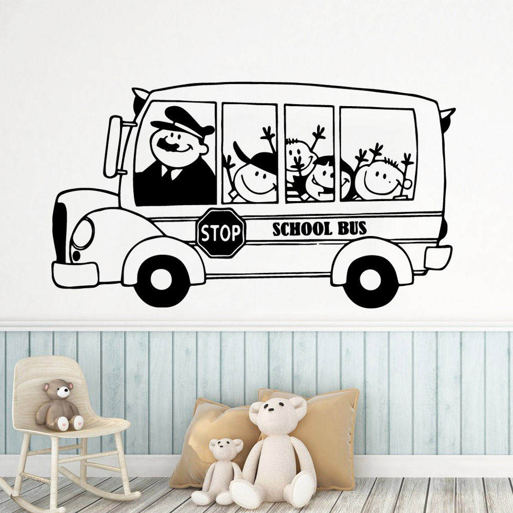 3D school bus Wall Stickers Modern Fashion Sticker For Kids Rooms Diy Home Decoration Pvc Decals