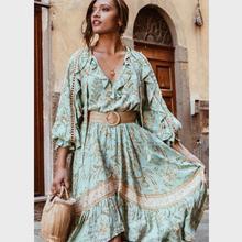 148fa35f8 Turquesa Floral Chique Blusa Mulheres Verão Babados Manga Longa V pescoço  Camisas 2019 Summer Beach Boho
