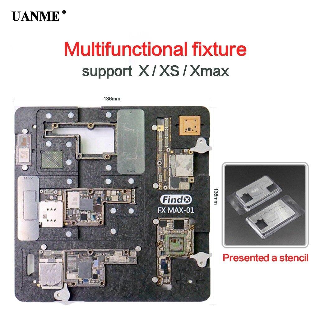 Kit de réparation de téléphone UANME montage de carte mère pour iPhone X XS XMAX CPU outils de réparation de puce gabarit de support de carte PCB avec aimant bonne stabilité
