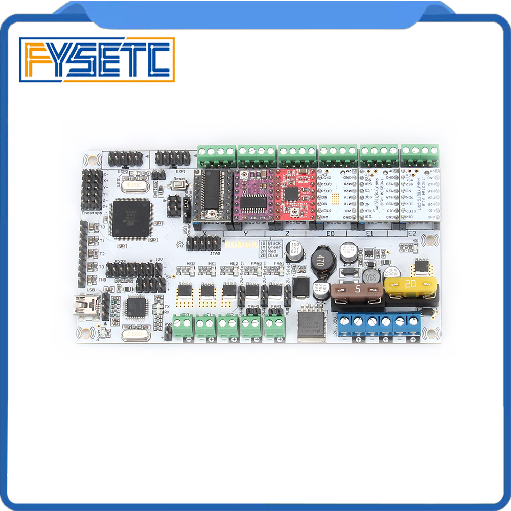 Upgrade Rumba Plus Board integrated Motherboard 2560 R3 Processor Compatible A4988 DRV8825 LV8729 TMC2100 TMC2208 TMC2130 rumba plus motherboard 2560 r3 processor upgrade rumba control board with 6pcs tmc2100 drivers suitable for mks tft display