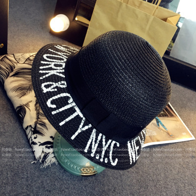 Летние тенденции моды шляпа Большой соломенной шляпе Буквы солнцезащитный крем пляж шляпа Леди досуга шляпу