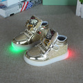 2017 The New summer selling children's gold glitter KT LED light children shoes with light kids boot children boys shoes childre