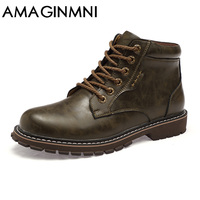 AMAGINMNI Winter Men Boots High Quality Male Genuine Leather Boots Work Safety Boots Fashion Winter Genuine