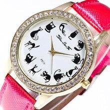 Мультфильм животных масштаба Gold Diamond сплава Циферблат розовый кожаный 20 мм ремешок дамы пары Роскошные Кварцевые часы синий Для женщин часы c97