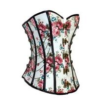 פרחוני גותי נשים מחוך עם שרשרות הרזיה מותניים מאמן פרח הדפסת Overbust Shapewear מחוך Bustier מעצבי גברת