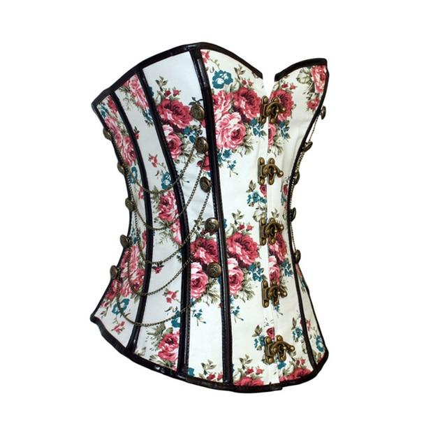 Corpete feminino, corset gótico floral com correntes emagrecimento, modelador de flores
