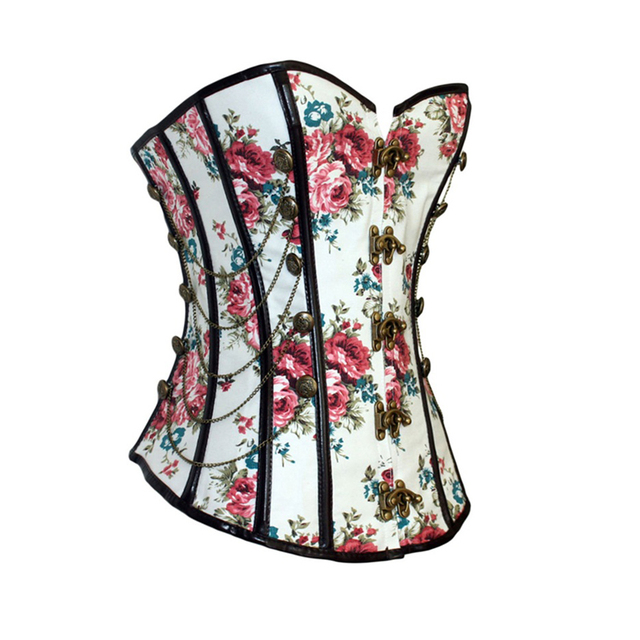 Floral Gothic Women Corset With Chains Slimming Waist Trainer Flower Print Overbust Shapewear Corselet Bustier Lady Shapers