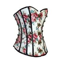 Çiçek gotik kadın korse ile zincirler zayıflama bel eğitmen çiçek baskı Overbust Shapewear korse büstiyer bayan şekillendirme