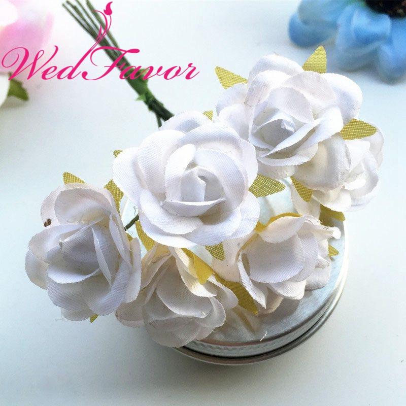 60pcs 25cm Small Imitation Silk Rose Bouquet Artificial Flowers For