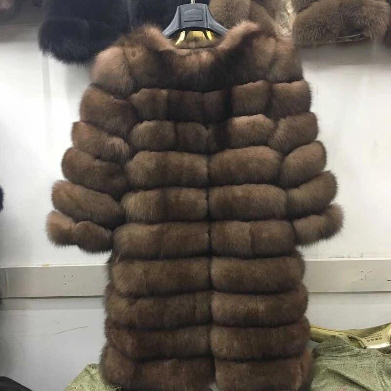 2018 Новое Брендовое зимнее пальто с натуральным синим лисьим мехом, толстая теплая имитация сабли, женская светло-Коричневая длинная куртка,...