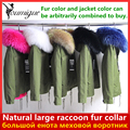 YOUMIGUE 2016 Winter New Women Army Green Parka Jacket Coats Thick Real Raccoon Fur Collar Hooded Fur Lining Down jacket women's