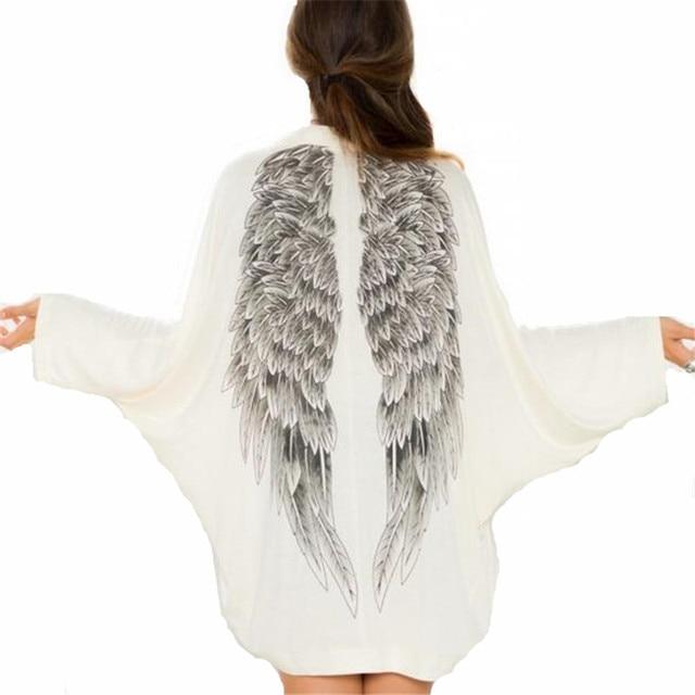 2016 Nuevas Mujeres Europeas de Primavera Larga Eagles Wings Imprimir Batwing Manga Cardigans Prendas de Punto Flojo Ocasional Outwear ZS863