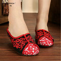 2017 New Big Size Woman Shoes Summer Fashion Flower Embroidery Slippers Women Slipper Chinese Style Casual Shoes Sandalias Mujer