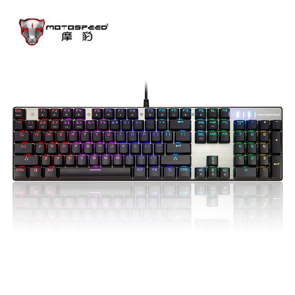 Motospeed Original Russian 87 Keys Mechanical Keyboard Ergonomic Black RGB Gaming Keyboard With Backlight For PC Gamer Free Ship mechanical gaming keyboard motospeed k10 aluminium alloy top cover with bicolor injection keycaps keyboard gamer retail package
