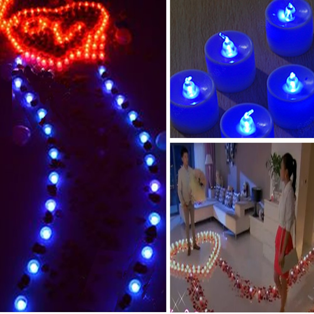 1pcs Blue Tea Lights LED Candle Flickering Flameless Candles Wedding Party Light On/Off Switch