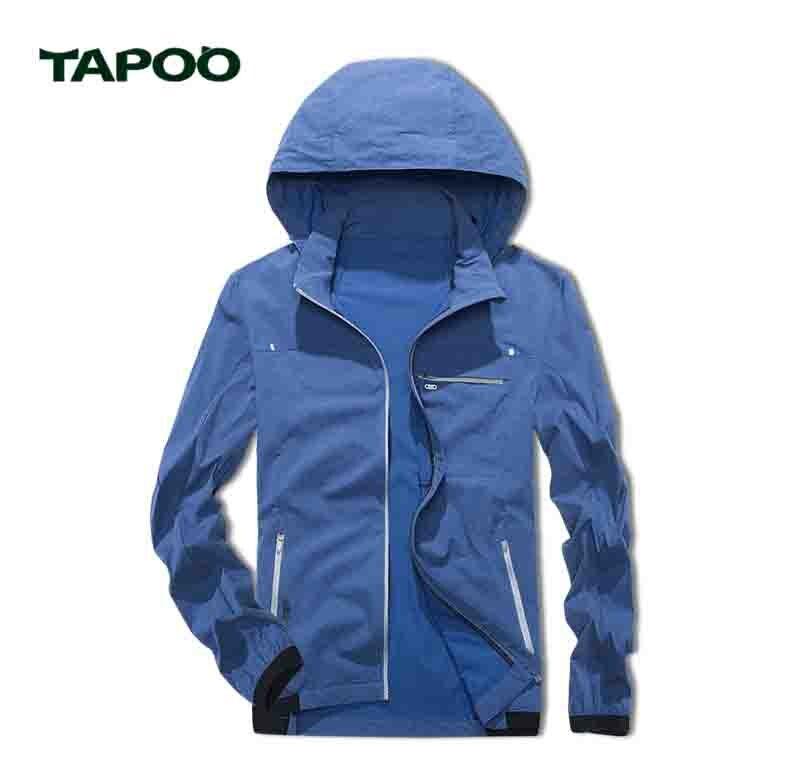 TAPOO Autumn Mens Hooded Jackets Mens Skin Jacket Thin Casual Jacket Spring Summer Jacket