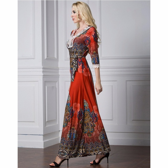 Islamic Abaya Dress Muslim Women Dress Long Sleeve Abaya Clothing Robe Kaftan Bohemia Style Silk Lace Red 2
