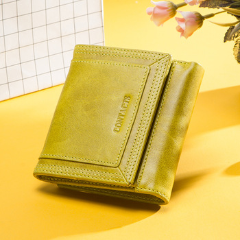 Contact's Genuine Leather Fashion Wallet women Coin Purse Small Money Bag Credit Card Holder Wallets for Women Portfel Damski 1