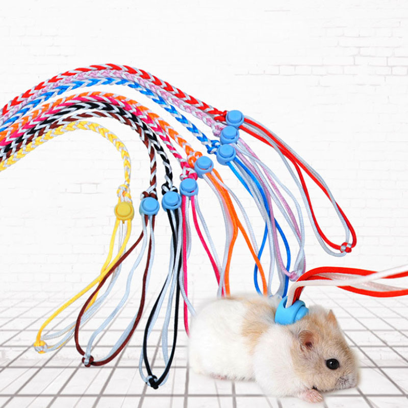 1.4m Adjustable Pet Hamster Leash Harness Rope Gerbil Cotton Rope Harness Lead Collar For Rat Mouse Hamster Pet Cage Leash