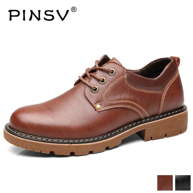 Prawdziwa skóra retro buty mężczyźni gorąca sprzedaż kostki buty męskie sznurowane brytyjski styl buty w stylu casual dla mężczyzn PINSV