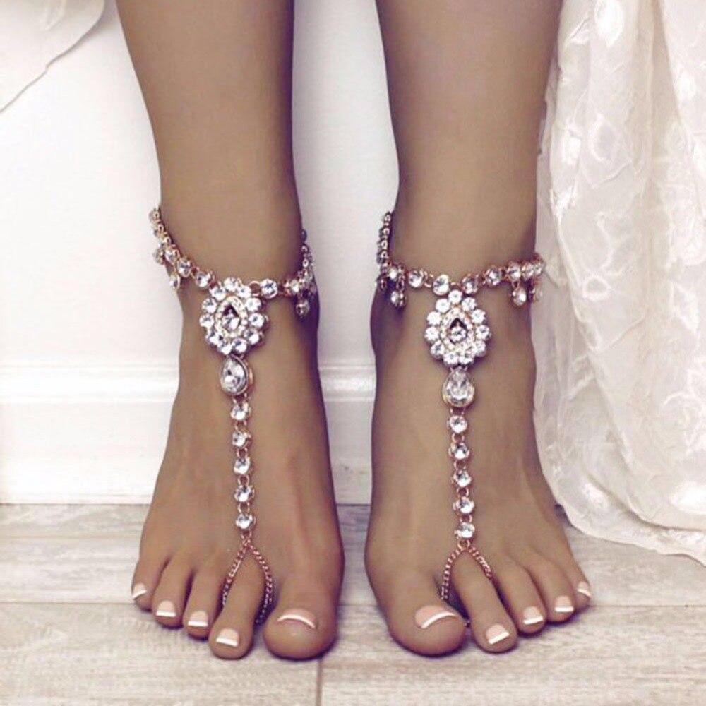 Energisch 1 Stück Kristall Wassertropfen Barfuß Fußkettchen Kette Strand Sommer Retro Vintage Sandale Ankle Schmuck Sexy Frauen #242519 Moderater Preis