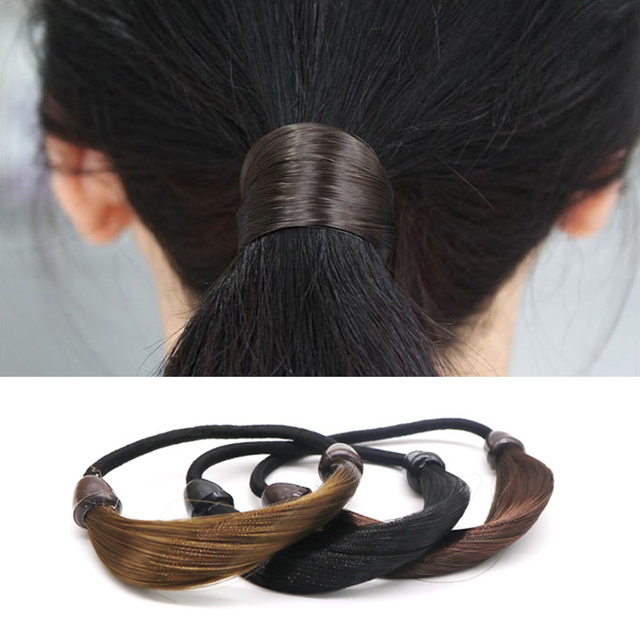 Patchwork Wig Elastic Hair Bands Fashion Accessory for Hair Elastic Rubber Band Hair Gum Women Ponytail Holder Scrunchy Headband