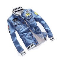 Mcikkny Spring Autumn Denim Jacket Men Ripped Patchwork Hole Jean Jackets Male Slim Fit Cotton Coat Light Blue Plus Size S 5XL