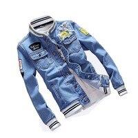 Mcikkny Spring Autumn Denim Jacket Men Ripped Patchwork Hole Jean Jackets Male Slim Fit Cotton Coat Light Blue Plus Size S 5XL