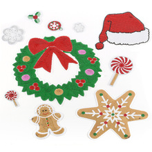Christmas Embroidery Patch for Clothing Iron on Embroidered Fabric Badge Motif Garment DIY Apparel Applique Accessories round natural embroidery patch for clothing iron on embroidered fabric badge motif garment diy apparel applique accessories