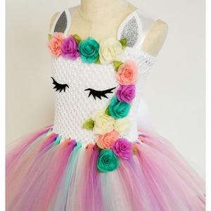 Image 4 - Pastel Unicorn Tutu elbise bebek çocuk kız çiçek doğum günü Masquerade parti elbise çocuk Purim günü cadılar bayramı noel kostüm