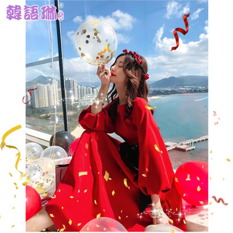 Femmes Robe 2019 Manches De Lanterne Printemps 1 Rouge Longues Nourriture Distributeur Réunion Nouvelles À Annuelle vHqYRwgC