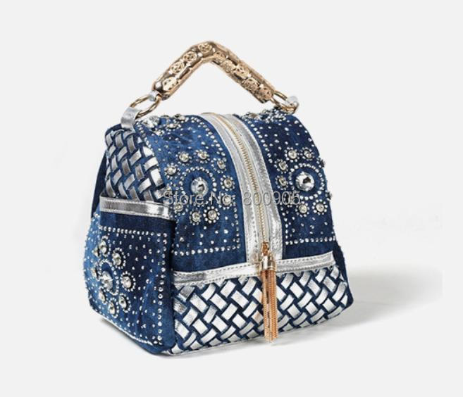 New 2015 women shoulder handbag lady mini Denim diamonds ...