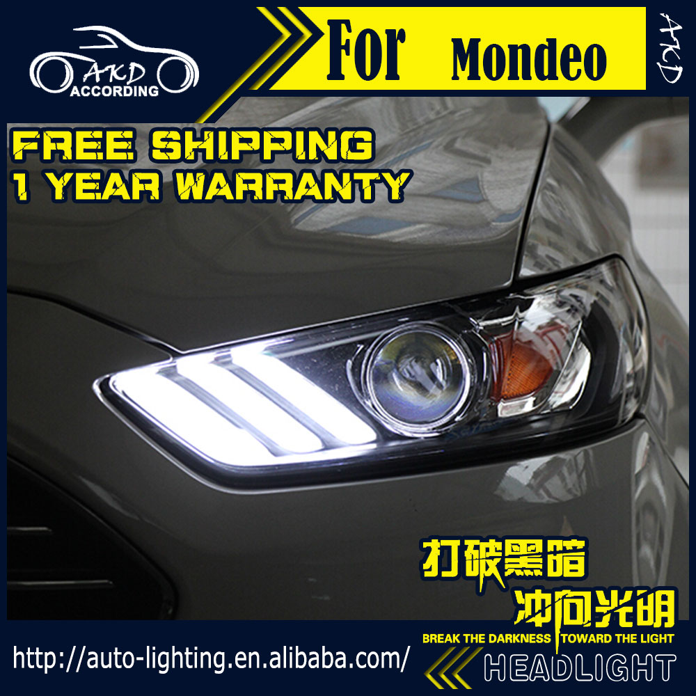 AKD Car Styling Headlight Assembly for Ford Mondeo Headlight 2013-2016 Fusion LED DRL H7 D2H HID Option Angel Eye Bi Xenon Beam