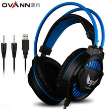 Ovann G1 Over-ear Game Gaming Headphone Wired Headset Earphone Headband with Microphone Stereo Bass LED Light Selectable PC
