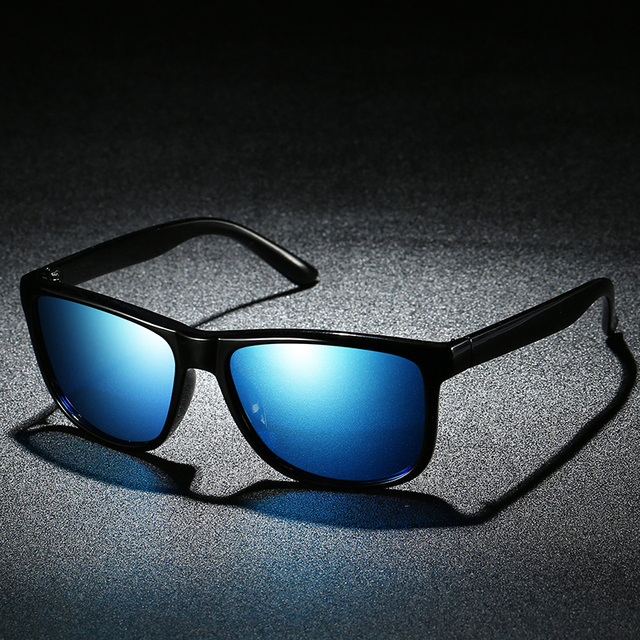 Mirror Blue Lens Rectangle Men's Sunglasses