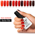 10ml Red Series Nail Enamel Gel Finish Polish Soak Off  Gel Lak Nail Kits With Lamp Glitter Glue Peel Off Base Coat