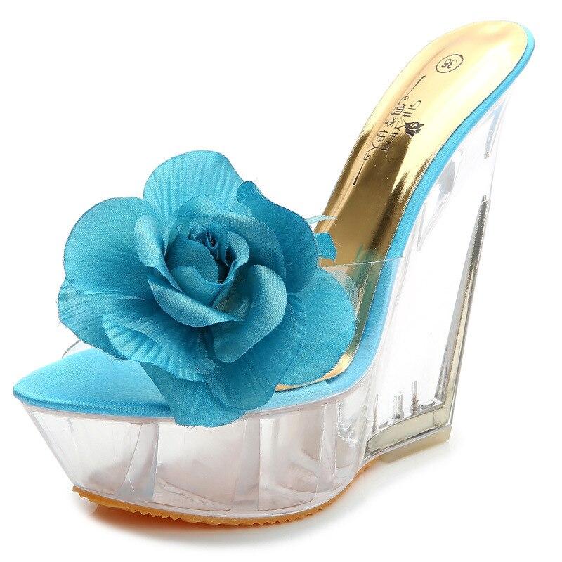 Apricot Sexy blue Femmes Cm Slip Hauts Toe D'été 14 Chaussures Fleur Talons forme Clair Sandales Wedge pink Lady Plate sur Peep EDIe9bYW2H