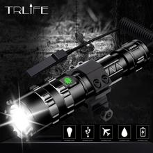 60000Lums LED Tactical Flashlight Scout light L2 Ultra Bright USB Rechargeable Waterproof Torch Hunting light 5 Modes by 1*18650