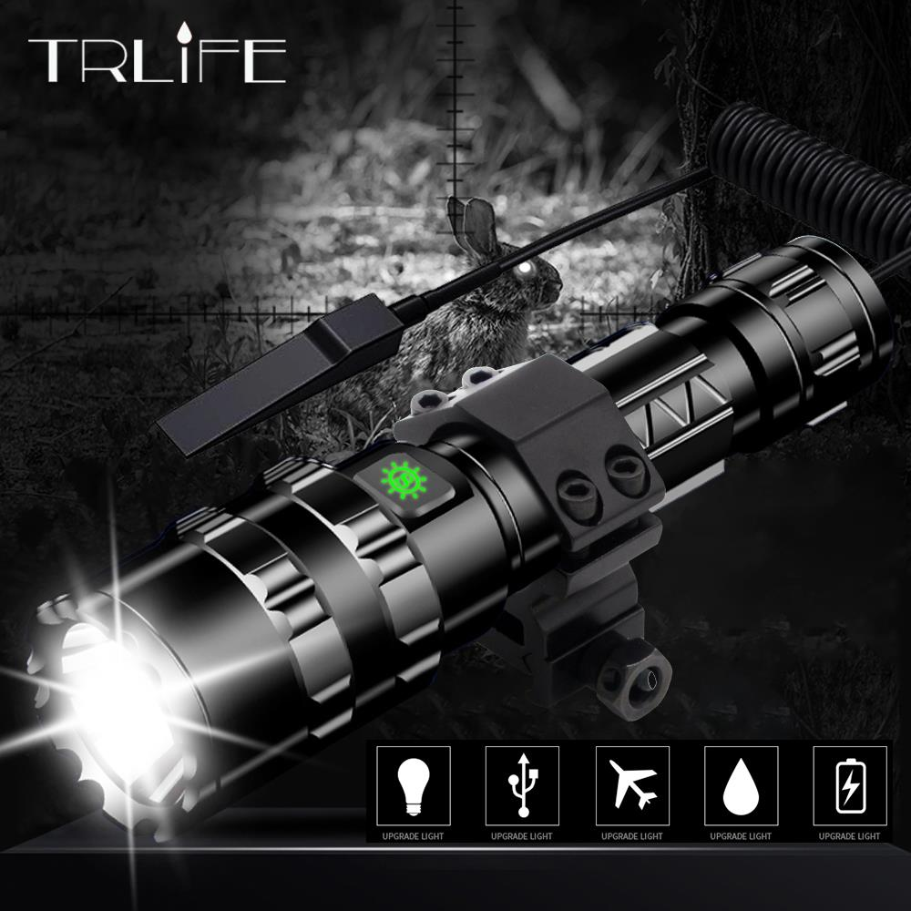 LED Tactical Flashlight Scout light L2 Ultra Bright USB Rechargeable Waterproof Torch Hunting light 5 Modes by 1*18650