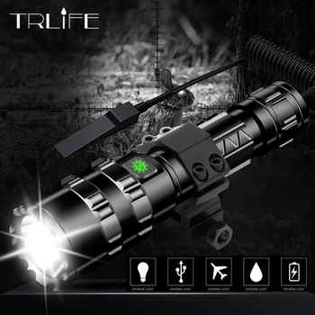 LED Tactical Flashlight Scout light L2 Ultra Bright USB Rechargeable Waterproof Torch Hunting light 5 Modes by 1*18650 - DISCOUNT ITEM  40% OFF All Category