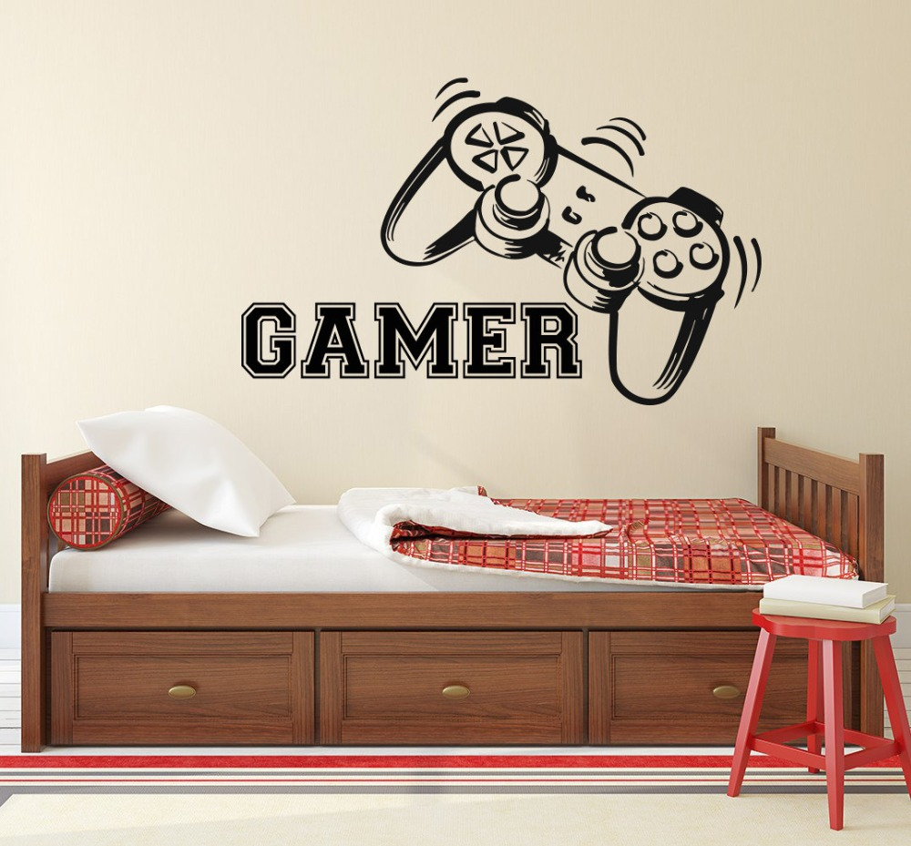 Gamer Wall Decal Game Controllers Gaming Vinyl Sticker Video Game Boy Room  Decor Bedroom Living Room Wall ...