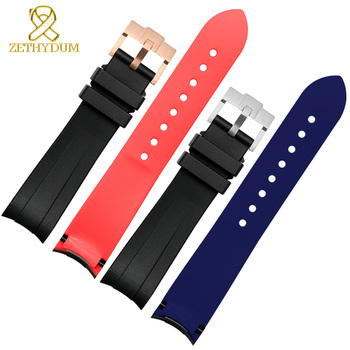 High quality Silicone Rubber bracelet 20mm 22mm watchband two color sport watch strap curve end wristband belt black