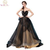 Walk Beside You Black Champagne Contrast color Long Dress Elegant Evening Engagement Dresses Ball Gown Ruffles Skirt Bead Bodice