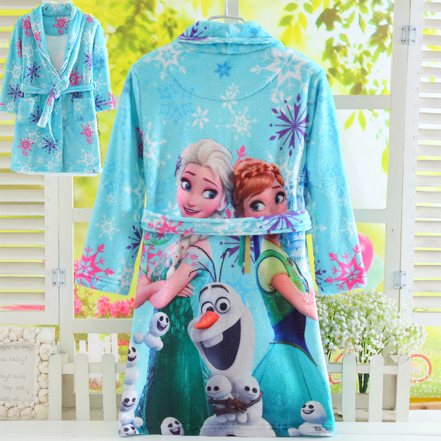 Mother and Daughter Long Sleeves Winter Flannel Bathrobes Elsa Anna Girl  Coral Velvet Bath Robes Kids Pajamas Family Homewear bad31a360