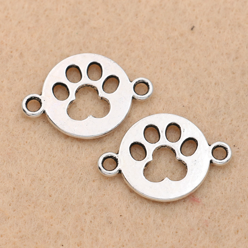 Antique Silver Plated Dog Footprint Connector For Jewelry Making Charm Bracelet Accessories DIY Jewelry Findings 17mm