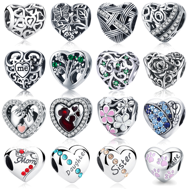 100% Authentic 925 Sterling Silver Heart Shape Beads Fit wst Charm Bracelet Pendants DIY Original Jewelry FBS005